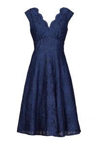 V-Neck Lace Fit And Flare Bridesmaid Dress-Jolie Moi