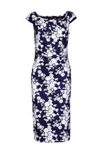 Load image into Gallery viewer, Floral Print Bodycon Dress, Navy White Floral