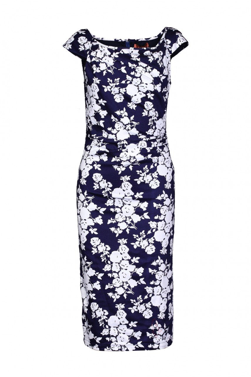 Floral Print Bodycon Dress, Navy White Floral