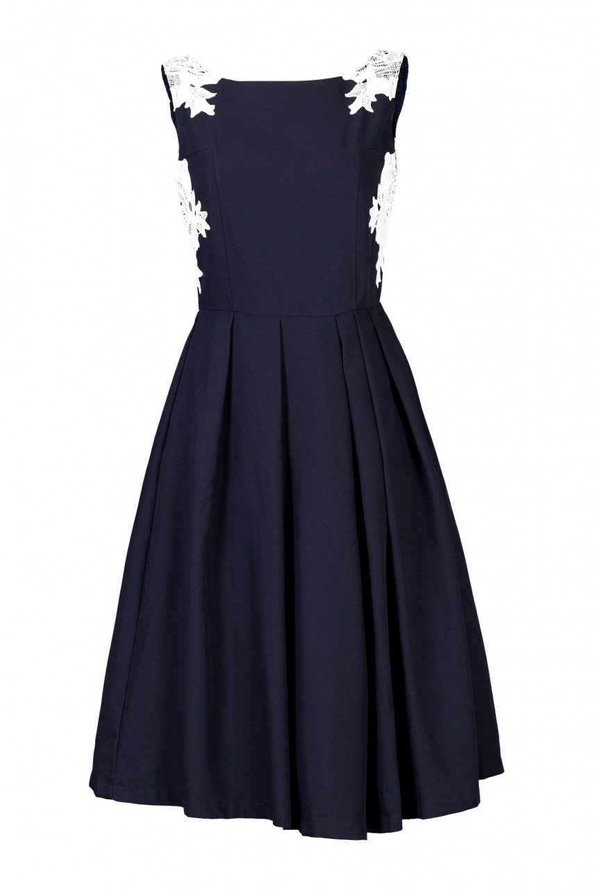 Jolie Moi Lace Applique 50s Dress, Navy