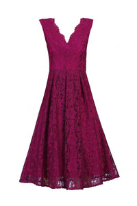 Floral Lace Pleated Bridesmaid Dress-Jolie Moi