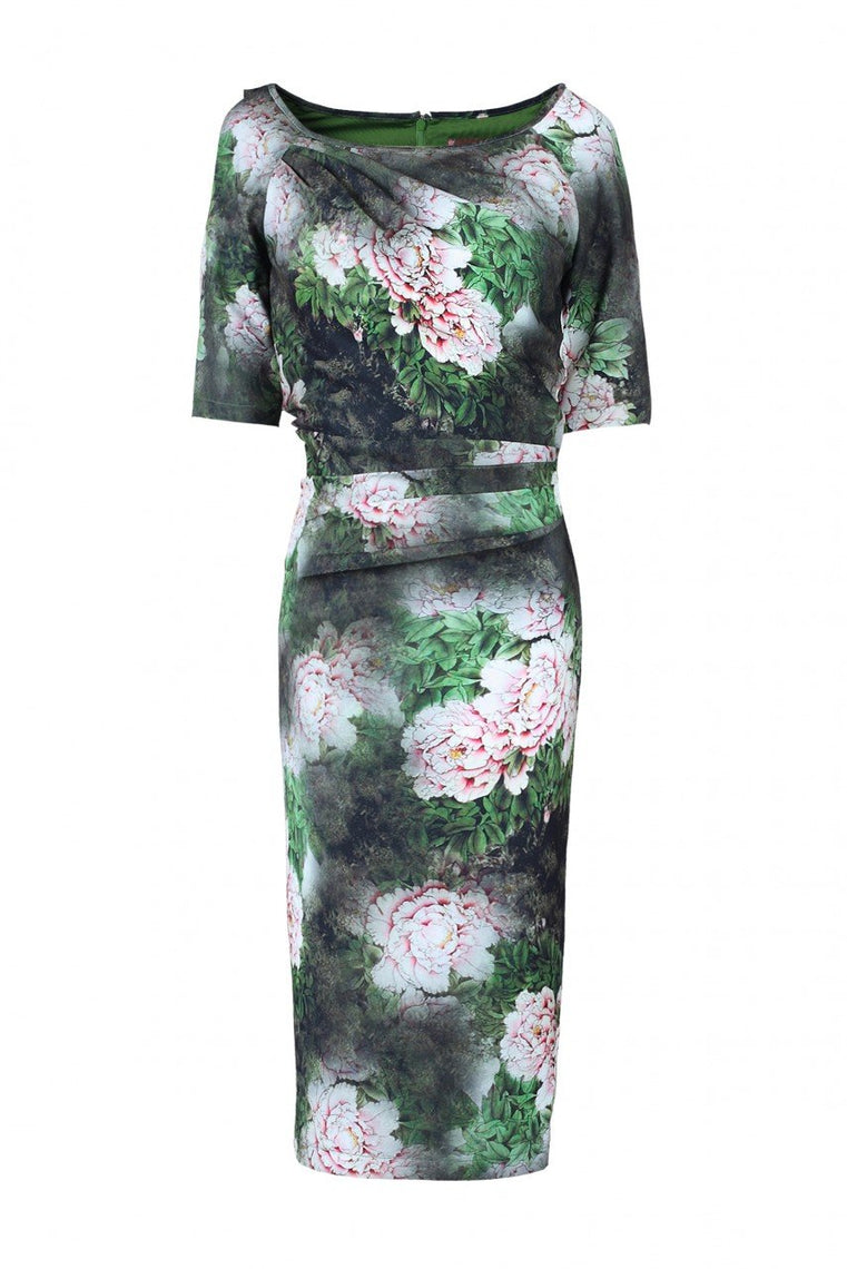 Floral Print Half Sleeve Dress, Green