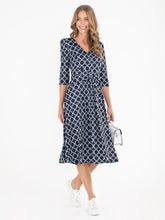 Load image into Gallery viewer, Annette Jersey Midi Dress, Navy Geo