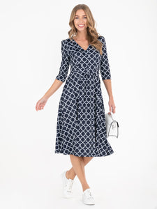Annette Jersey Midi Dress, Navy Geo