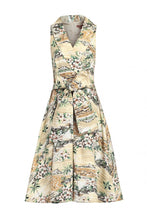 Load image into Gallery viewer, Jolie Moi Retro Print Shawl Collar Dress