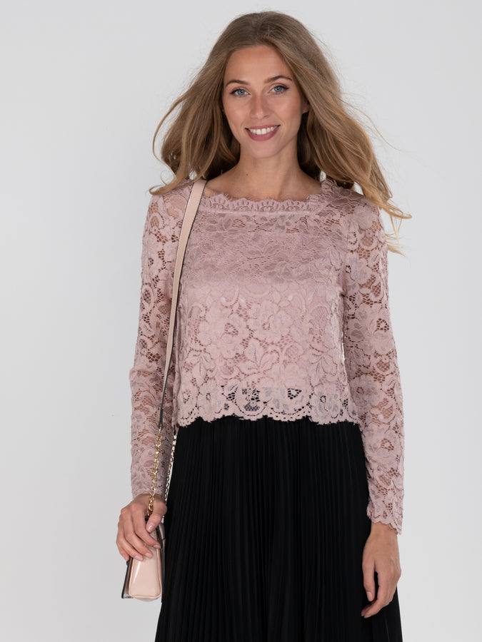 Jolie Moi Cropped Flare Sleeve Lace Top