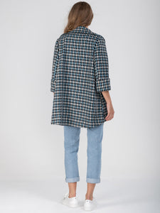 Hounds-tooth Dip Hem Cocoon Jacket - Jolie Moi Retail