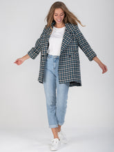Load image into Gallery viewer, Hounds-tooth Dip Hem Cocoon Jacket - Jolie Moi Retail