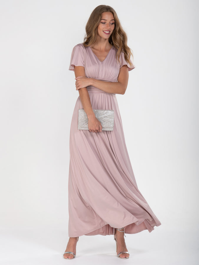 Cap Sleeve Jersey Maxi Dress , Dusty Pink