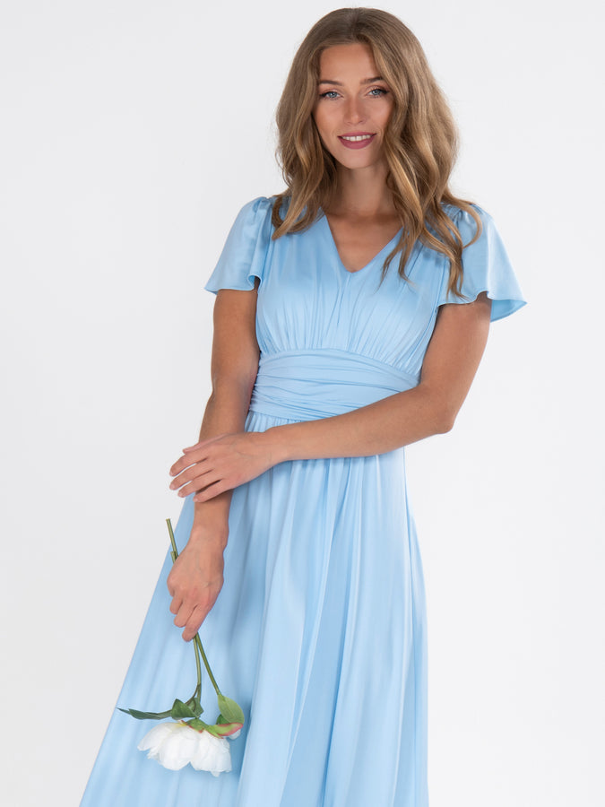 Cap Sleeve Bridesmaid Maxi Dress , Light Blue