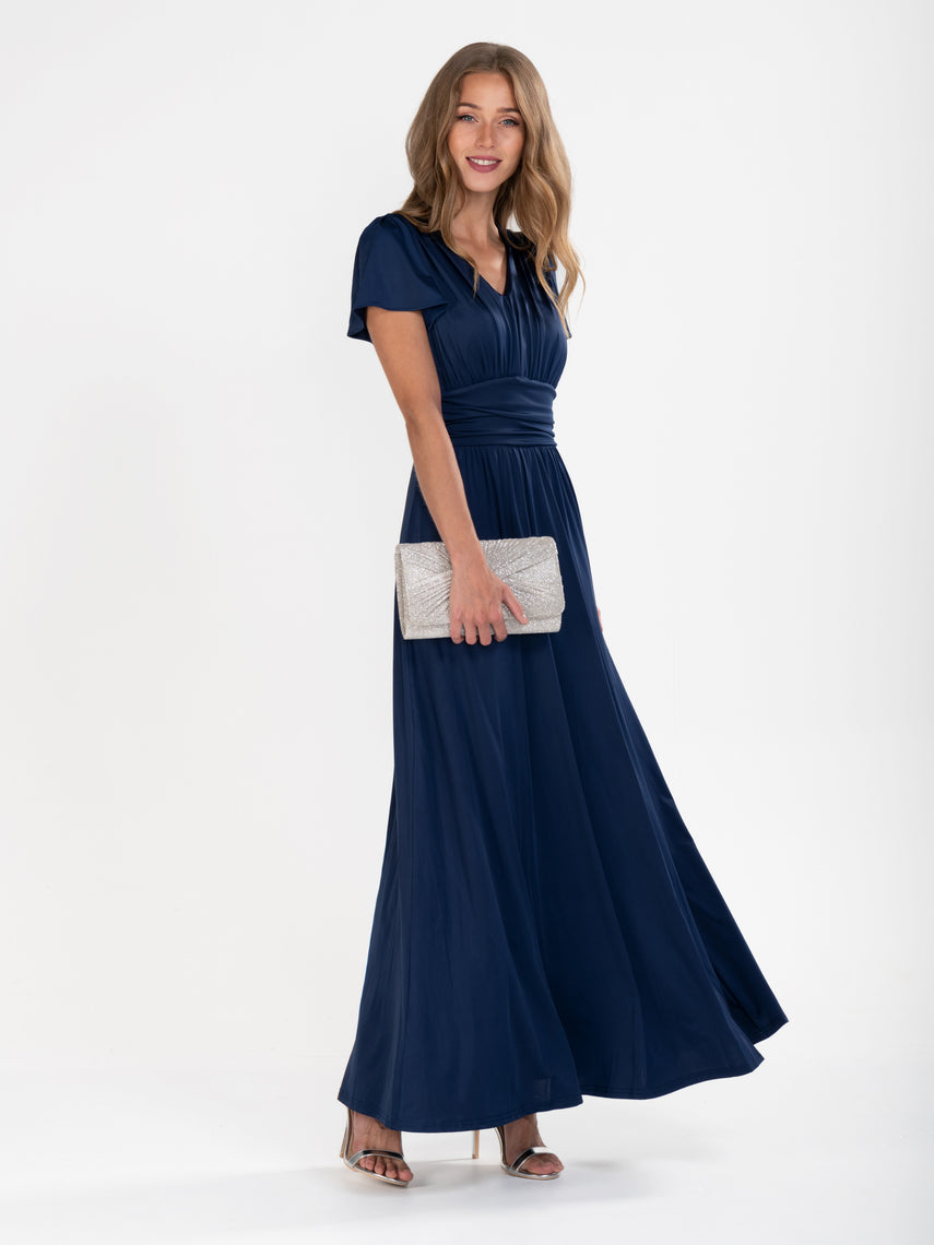 Cap Sleeve Jersey Maxi Dress , Navy
