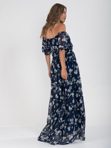 Off Shoulder Chiffon Maxi Dress, Navy Floral
