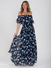 Load image into Gallery viewer, Off Shoulder Chiffon Maxi Dress, Navy Floral