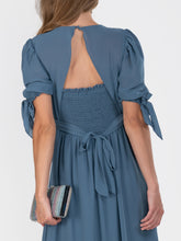Load image into Gallery viewer, Puff Sleeve Chiffon Maxi Dress,  Stomy Blue
