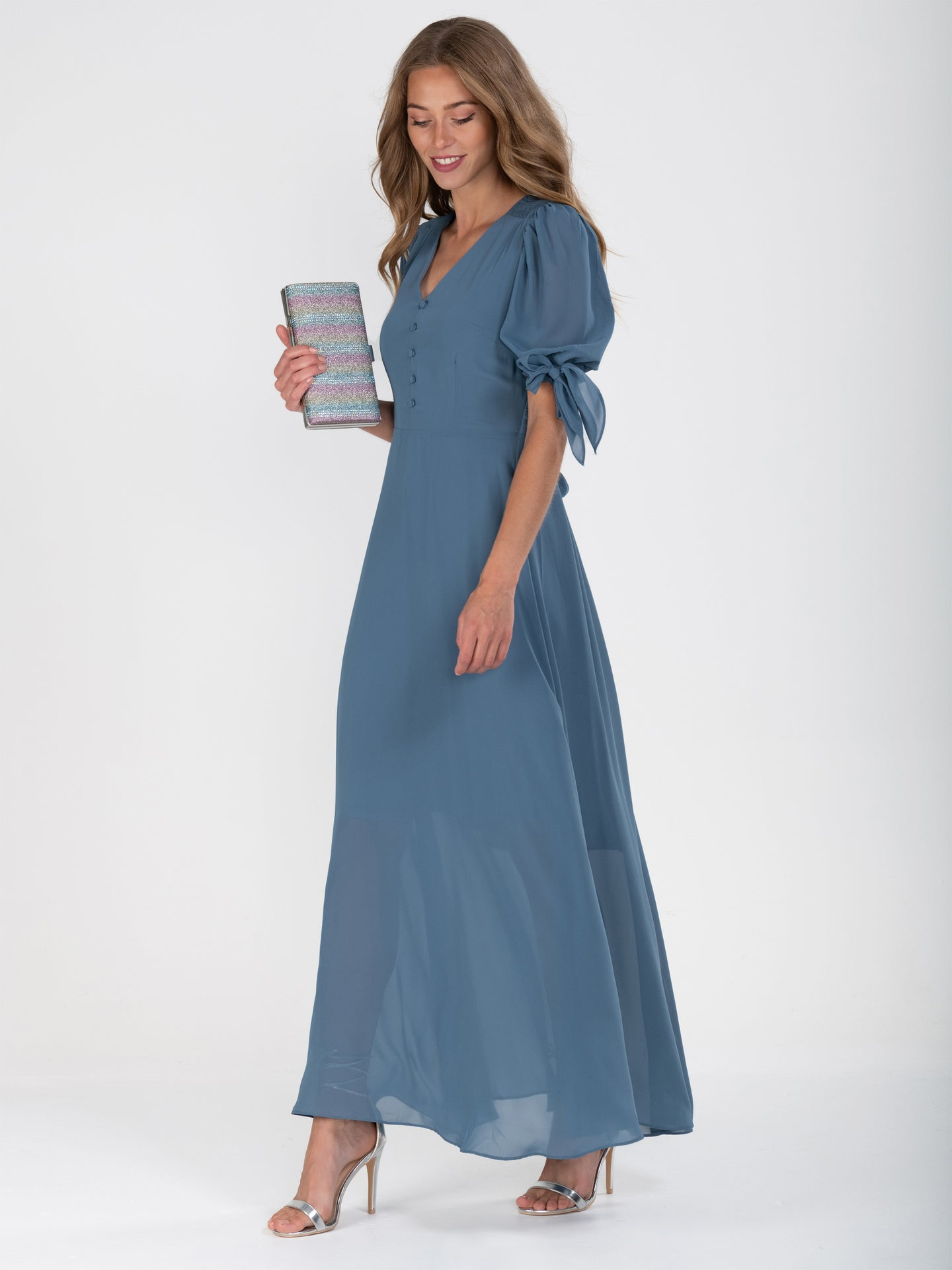 Puff Sleeve Chiffon Maxi Dress,  Stomy Blue