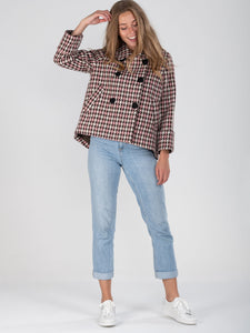 Hounds-tooth Cropped Jacket