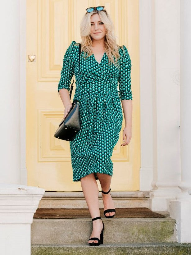 Printed Jersey Wrap Shift Dress