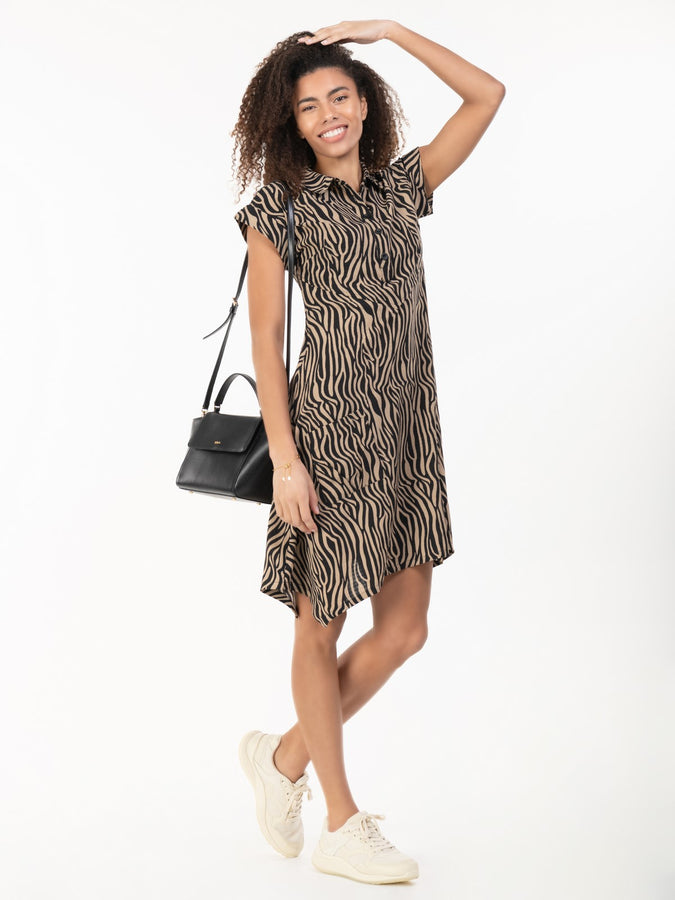 Cassie Hanky Hem Tunic Dress, Brown Animal