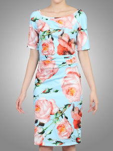Jolie Moi Short Sleeved Ruched Dress, Blue Floral