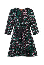 Load image into Gallery viewer, Jolie Moi Geo Print Drawstring Dress, Green Pattern - Jolie Moi Retail