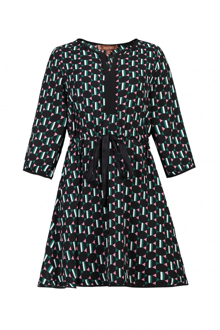 Jolie Moi Geo Print Drawstring Dress, Green Pattern
