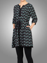 Load image into Gallery viewer, Jolie Moi Geo Print Drawstring Dress, Green Pattern