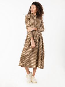 Jolie Moi Print Woven Maxi Shirt Dress, Khaki Spot