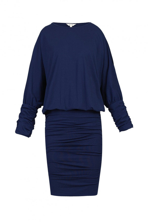 Jolie Moi Batwing Ruched Tunic Dress, Navy