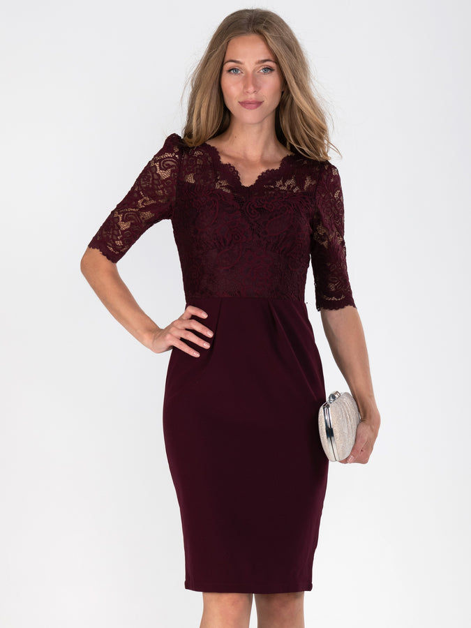 Elbow Sleeve Lace Contrast Dress