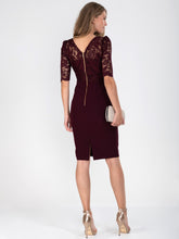 Load image into Gallery viewer, Elbow Sleeve Lace Contrast Dress