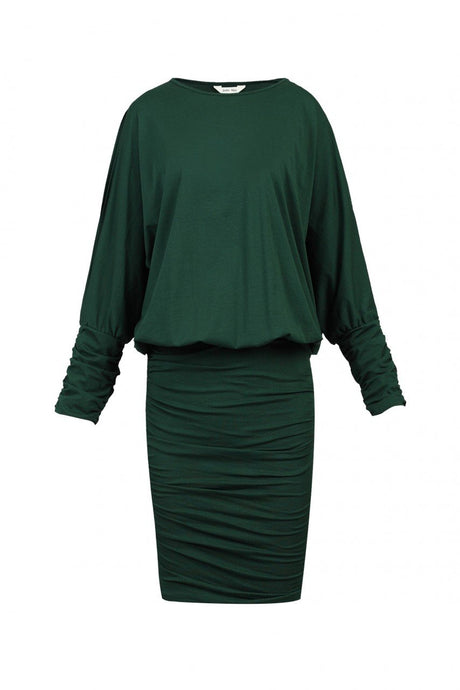 Jolie Moi Batwing Ruched Tunic Dress, Dark Green