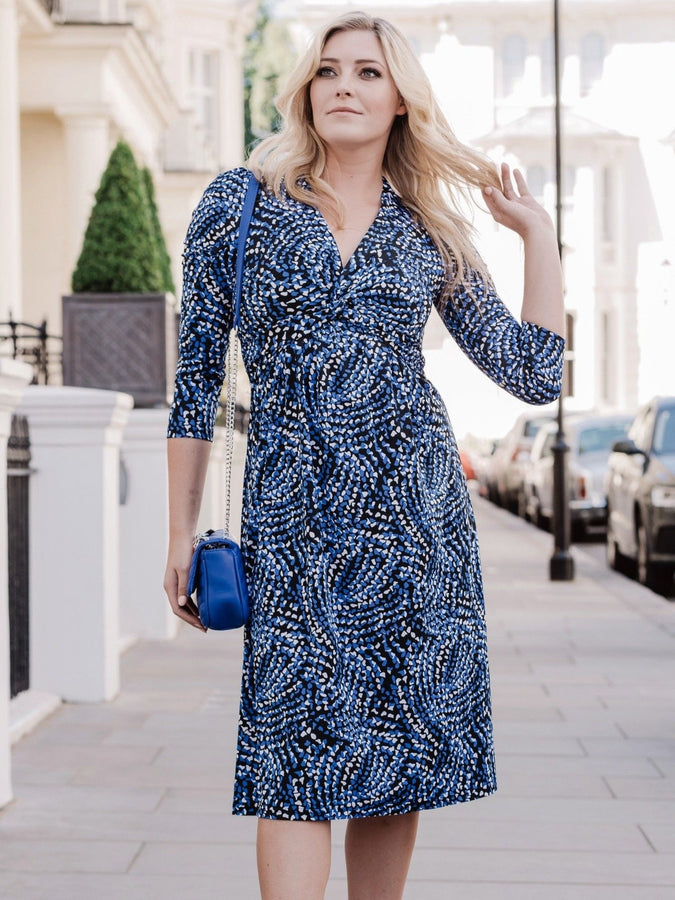 3/4 Sleeve Twist Front Jersey Dress, Blue Pattern