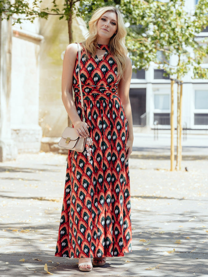 Turtleneck Jersey Print Maxi Dress