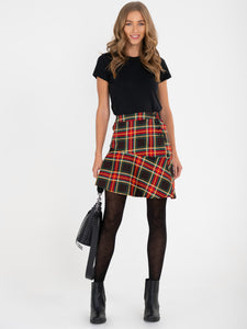 Checked Flounce Mini Skirt, Green Check