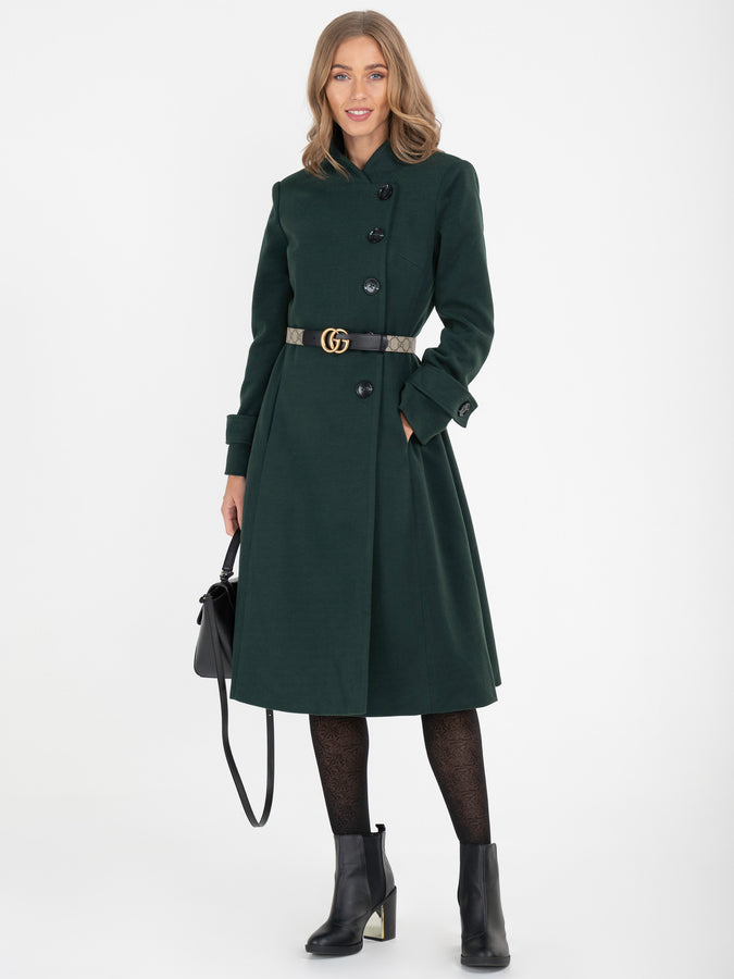 Asymmetric Button Coat, Dark Green