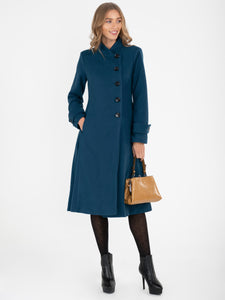 Asymmetric Button Coat, Dark TEAL