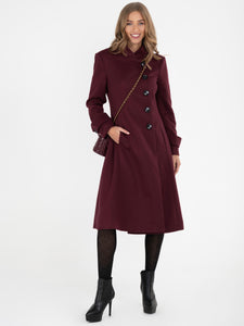Asymmetric Button Coat BURGUNDY