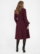 Load image into Gallery viewer, Asymmetric Button Coat BURGUNDY