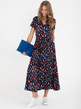 Load image into Gallery viewer, Stand Collar V Neck Maxi Dress