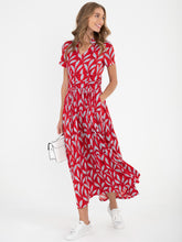 Load image into Gallery viewer, Stand Collar V Neck Maxi Dress, RED LEAFY