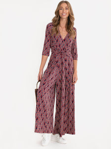 3/4 Sleeve Wrap Front Jersey Jumpsuit, Navy Multi