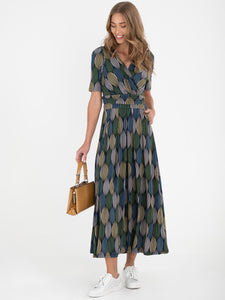 Wrap Front Jersey Maxi Dress, Green Geo