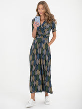 Load image into Gallery viewer, Wrap Front Jersey Maxi Dress, Green Geo