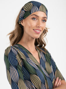 Printed Wide Jersey Headbands, Green Geo