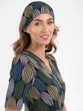 Load image into Gallery viewer, Printed Wide Jersey Headbands, Green Geo