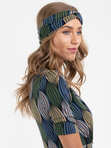 Twisted Knot Jersey Headbands , Green Geo