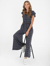 Load image into Gallery viewer, Ruffle Print Jersey Jumpsuit , Navy Multi