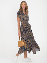 Load image into Gallery viewer, PRE-ORDER V Neck Hanky Maxi Dress, Brown Animal