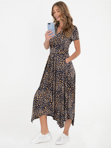 PRE-ORDER V Neck Hanky Maxi Dress, Brown Animal