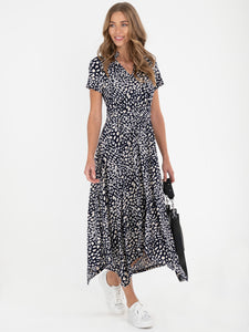 V Neck Hanky Maxi Dress, Navy Animal